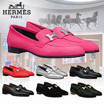 HERMES Casual Style Leather Block Heels Office Style
