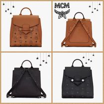 MCM Casual Style Unisex Street Style Leather Backpacks