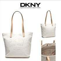 DKNY Casual Style Canvas A4 Leather Totes