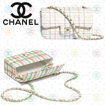 CHANEL Other Check Patterns Calfskin Blended Fabrics Chain