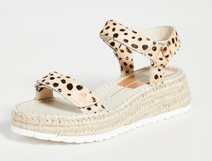Leopard Patterns Open Toe Platform Rubber Sole Casual Style
