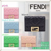 FENDI BAGUETTE Monogram Lambskin Plain Folding Wallets