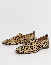H by Hudson Leopard Patterns Loafers Suede Loafers & Slip-ons