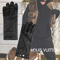 Louis Vuitton Monogram Leather Logo Leather & Faux Leather Gloves