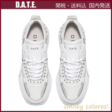 Rubber Sole Casual Style Studded Leather Low-Top Sneakers