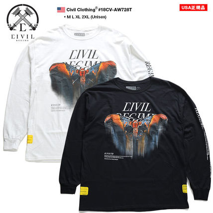 Crew Neck Pullovers Unisex Street Style Long Sleeves