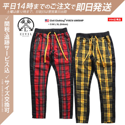 Tartan Other Plaid Patterns Unisex Street Style Cotton Logo
