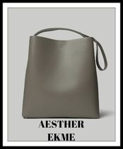 AESTHER EKME Plain Leather Office Style Totes