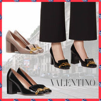 VALENTINO Square Toe Casual Style Plain Leather Block Heels