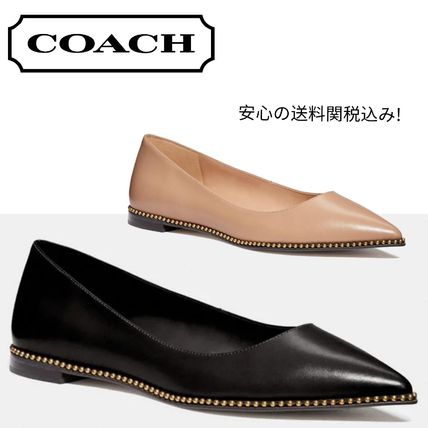 Studded Plain Leather Pointed Toe Shoes