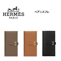 HERMES Bearn Calfskin Plain Long Wallets