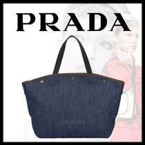 PRADA Casual Style Denim 2WAY Plain Leather Logo Totes