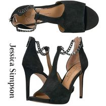 Jessica Simpson Open Toe Casual Style Suede Chain Plain Pin Heels