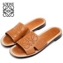LOEWE Open Toe Plain Leather Sandals Sandal