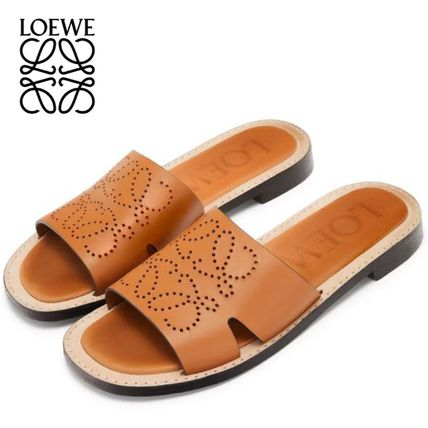 Open Toe Plain Leather Sandals Sandal