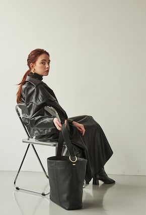 Casual Style Street Style A4 Plain Leather Office Style