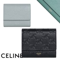 CELINE Small Trifold Wallet In Embossed Smooth Calfskin