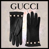 GUCCI Silk Plain Leather Logo Leather & Faux Leather Gloves