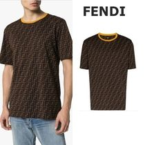 FENDI Crew Neck Pullovers Cotton Short Sleeves Crew Neck T-Shirts