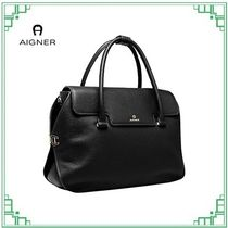 AIGNER Other Plaid Patterns Casual Style Plain Leather