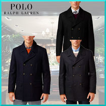 Ralph Lauren Short Wool Plain Peacoats Coats