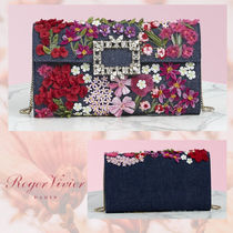 Roger Vivier Flower Patterns Casual Style Blended Fabrics 3WAY Chain