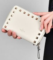 VALENTINO Calfskin Studded Logo Long Wallets