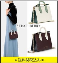 STRATHBERRY Casual Style 2WAY Bi-color Chain Plain Leather Office Style