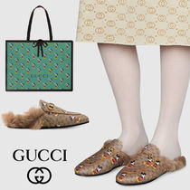 GUCCI Ace Unisex Street Style Leather Logo Low-Top Sneakers