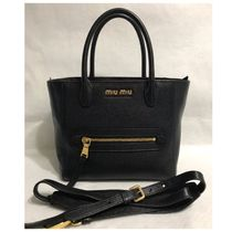 MiuMiu 2WAY Plain Leather Crossbody Totes