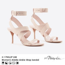 3.1 Phillip Lim Open Toe Casual Style Plain Leather Pin Heels Elegant Style