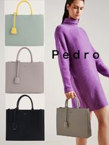 Pedro Casual Style Faux Fur A4 2WAY Office Style Handbags