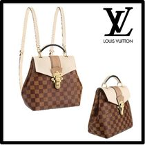Louis Vuitton DAMIER Blended Fabrics Street Style Leather Elegant Style Backpacks