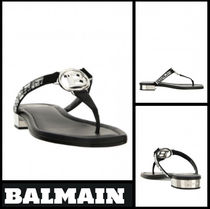 BALMAIN Open Toe Casual Style Leather Flip Flops Flat Sandals