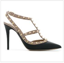 VALENTINO Studded Leather Pin Heels Pointed Toe Pumps & Mules