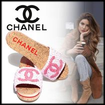 CHANEL Open Toe Casual Style Tweed Logo Heeled Sandals