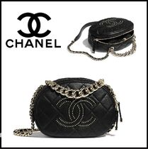 CHANEL Lambskin Studded Chain Plain Shoulder Bags