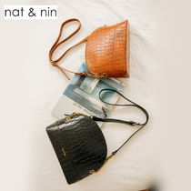 nat&nin Casual Style Leather Elegant Style Shoulder Bags