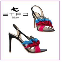 ETRO Open Toe Round Toe Rubber Sole Suede Blended Fabrics Leather