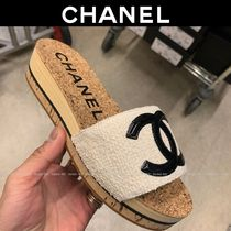 CHANEL Open Toe Casual Style Tweed Plain Elegant Style Slippers