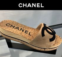 CHANEL Open Toe Casual Style Suede Blended Fabrics Plain