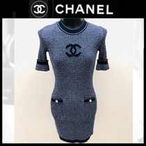 CHANEL Crew Neck Short Casual Style Tight Medium Short Sleeves