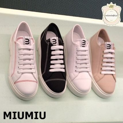 MiuMiu Casual Style Logo Low-Top Sneakers
