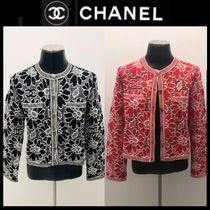 CHANEL Flower Patterns Wool Long Sleeves Cotton Medium Party Style