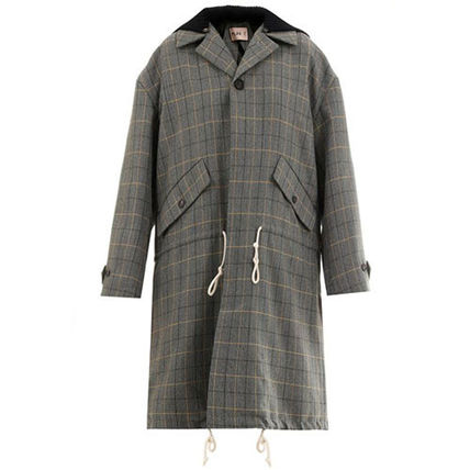 Glen Patterns Casual Style Medium Coats