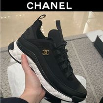 CHANEL Leather Logo Sneakers