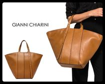 GIANNI CHIARINI Casual Style Plain Leather Office Style Totes