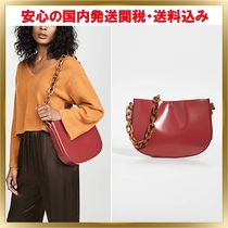 by FAR Blended Fabrics Plain Leather Elegant Style Shoulder Bags