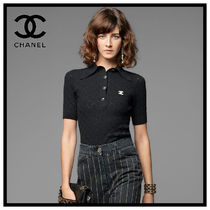 CHANEL Casual Style Plain Cotton Medium Short Sleeves Office Style