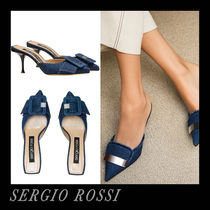 Sergio Rossi Casual Style Plain Office Style Heeled Sandals